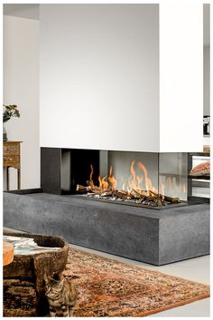 Incredible Contemporary Fireplace Design Ideas Natural or artificial fireplace models can make both modern and rustic home decorations look highly aesthetic. Artificial fireplace models are general. Home Fireplace, Living Room With Fireplace, Fireplace Mantels, Fireplace Modern, Gas Fireplaces, Fireplace Ideas, Fireplace Garden, Fireplace Glass, Traditional Fireplace