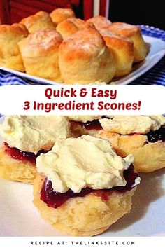 I love this scone recipe because it's quick and easy plus you only need 3 ingredients! Topped with jam and cream these make the perfect snack for afternoon tea! thelinkssite.com #scones #easyrecipe #snack #afternoontea Easy Snacks, Yummy Snacks, Easy Desserts, Delicious Desserts, Yummy Food, Quick Bread Recipes, Baking Recipes, Snack Recipes, Dessert Recipes