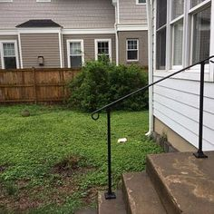 Single Post ornamental hand rail 1 or 2 step railing for stairs steel handrail with hardware! Iron Handrails, Steel Handrail, Porch Handrails, Railings, Exterior Stair Railing, Outdoor Stair Railing, Concrete Anchors, Front Entry, Front Porch