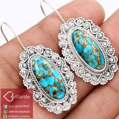 925 Sterling Silver Natural Arizona Turquoise Earring BJE4867AT