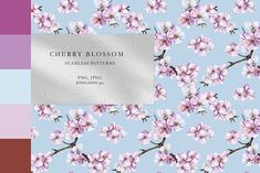 Cherry Blossom Patterns Bundle by Olga,koelsch Cherry Blossom Watercolor, Cherry Tree, Textile Prints, Botanical Illustration, Home Textile, Print Patterns, Pattern Design, Pastel, Place Card Holders