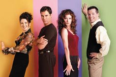 (l-r) Megan Mullally as Karen Walker, Eric McCormack as Will Truman, Debra Messing as Grace Adler, Sean Hayes as Jack McFarland.(Photo via Chris Haston/NBCU Photo Bank)