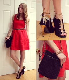 Juicy Couture Red Dress, Zara Butterfly Booties, Vintage Quilted Bag, Forever 21 Love Bracelet