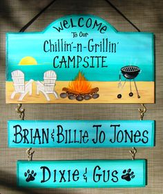 camp signs Welcome to our Chillin Grillin Camp Campsite Camping Sign with your name! Beach Fire Grill Flamingo Custom Personalized 2 name boards Camping Near Me, Beach Camping, Camping Life, Family Camping, Tent Camping, Campsite, Outdoor Camping, Camping Gear, Camping Trailers