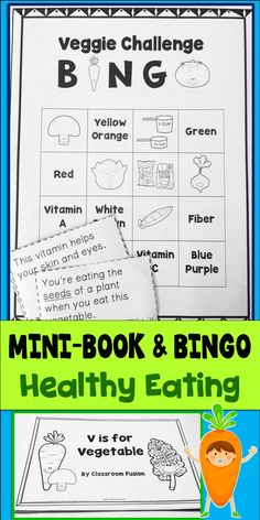 Healthy Eating Bingo and Mini-Book great to add to your MyPlate resources and nutrition units. Includes parts of plants you eat, where plants grow, colors of vegetables, how many vegetables kids should eat, the benefits of eating vegetables, eat a rainbow, and more! Use for whole group or a literacy center activity.