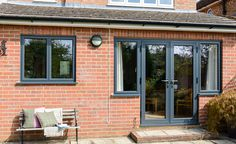 Take a look at our wide range of high quality casement aluminium windows. Join over 1 million satisfied customers in the UK - get a quote today! Aluminium French Doors, Upvc French Doors, French Doors Patio, Aluminium Windows, French Windows, Front Doors With Windows, Casement Windows, House Windows, Windows