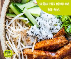 Give our recipe for Korean pork medallions rice bowls a try. Recipes Using Pork Fillet, Pork Recipes, Pork Medallions, Midweek Meals, Spicy Sauce, Rice Bowls, Recipe Using, Korean, Ethnic Recipes