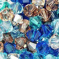 Swarovski Crystal, 4mm Bicone Mix, Life's a Beach
