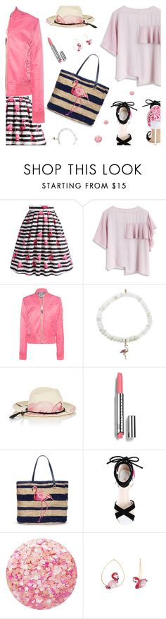 """Flamingo Style"" by annbaker ❤ liked on Polyvore featuring Chicwish, Schott NYC, Sydney Evan, Ibo-Maraca, Chantecaille, Draper James, Nails Inc. and Nach Bijoux"