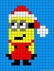 Christmas Minion Cross Stitch or Perler Bead Pattern