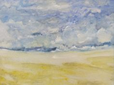 """Intersection, 18 x 24"""" Archival Print, Signed, Abstract Ocean Art, Yellow, Blue, Clouds, Beach, Large Art"""