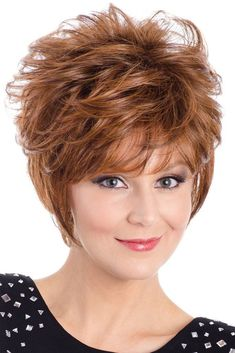 Tony of Beverly Wigs - Cora front 1 Short Layered Haircuts, Short Hairstyles For Thick Hair, Short Hair Cuts For Women, Layered Hairstyle, Fun Hairstyles, Layered Bobs, Hairdos, Pixie Haircut For Thick Hair, Short Hair Bun