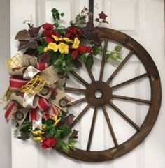 Western Wreaths, Rustic Wreaths, Fall Wreaths, Bicycle Rims, Bicycle Wheel, Wagon Wheel Decor, Wagon Wheels, Flower Containers, Craft Show Ideas