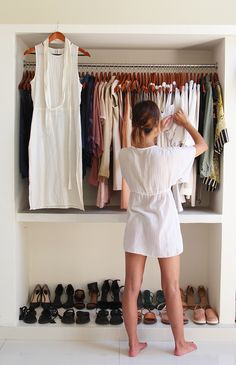 Designer Katie James in her minimalist closet