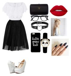 """""""Опять черно-белый..😎"""" by lovekikk ❤ liked on Polyvore featuring Topshop, Miguelina, Prada and Lime Crime"""