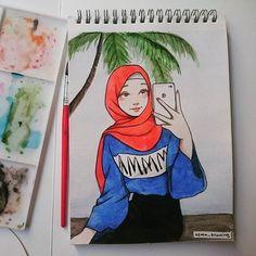 48 Super ideas for hat girl sketch Girl Drawing Sketches, Girl Sketch, Cute Drawings, Animal Drawings, Crown Illustration, Hijab Drawing, Islamic Cartoon, Anime Muslim, Hijab Cartoon