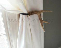 One Antler Curtain Tie Back Holdback Cabin Decor Primitive Natural Rustic Woodland Size Medium