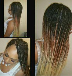 Cute Box Braids, Ombre Box Braids, Black Hairstyles, Cute Hairstyles, Faux Locs, Girls Life, Hair Designs, Twists, Hair Goals