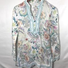 0a711899087 Malvin Hamburg Germany Tunic Top Women s Small Floral Linen Oversized Loose