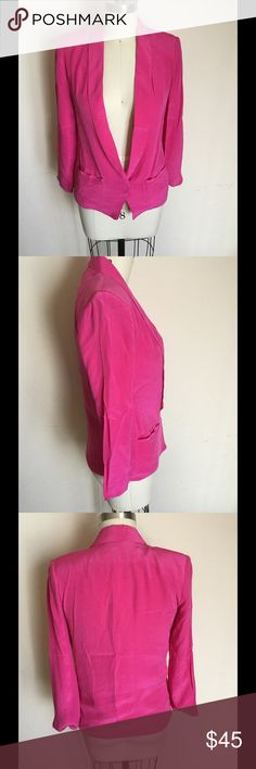 100% silk bright pink jacket I've worn this maybe twice so it's in great condition. Shiny bright pink, hits mid-hip. Slight shoulder padding. Front closure is magnetic. Size small, fits slim size 8. Gypsy Junkies Jackets & Coats Blazers