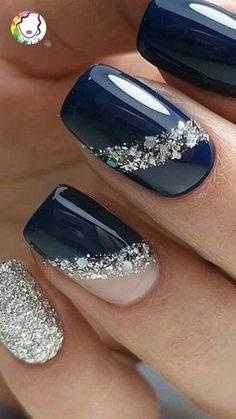 Nagellack Design, Nagellack Trends, Elegant Nail Art, Pretty Nail Art, Bright Nails, Blue Nails, Jewel Nails, Stylish Nails, Trendy Nails