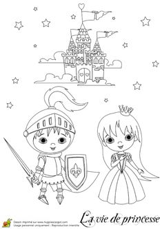 High resolution royalty free vector graphic of a knight and princess kids beside a castle - coloring page. This fairy tale stock vector image was designed and digitally rendered by Pushkin. Unicorn Coloring Pages, Colouring Pages, Free Coloring, Princess And The Pea, Prince And Princess, Castle Crafts, Prince Charmant, Knight Party, Princess Coloring Pages