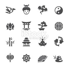 Soulico - Asian icons Royalty Free Stock Vector Art Illustration