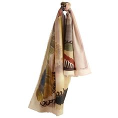 Burberry Floral Landscape Cashmere Scarf (€980) ❤ liked on Polyvore featuring accessories, scarves, burberry, sciarpe, burberry scarves, floral print scarves, floral shawl and floral scarves