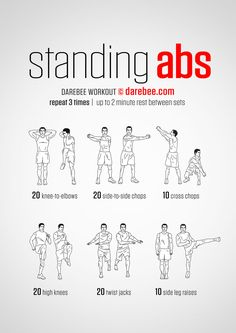 Stomach Fat Burning Ab Workouts From ! Standing Abs Workout - hmmm definitely worth a go!Standing Abs Workout - hmmm definitely worth a go! Ab Workout Machines, Abs Workout Video, Abs Workout Routines, Ab Workout At Home, At Home Workouts, Ab Routine, Workout Tips, Park Workout, Tummy Workout