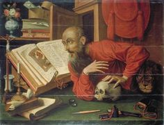Early 17th cent - Anonymous (after Marinus Van REYMERSWAELE) Saint Jerome (See also  https://commons.wikimedia.org/wiki/File:Saint_Jerome_in_his_study_by_Marinus_van_Reymerswale.jpg)