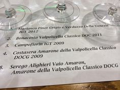 Line up of Masi wines at our wine tasting at Culinary Institute of America includes Amarone.