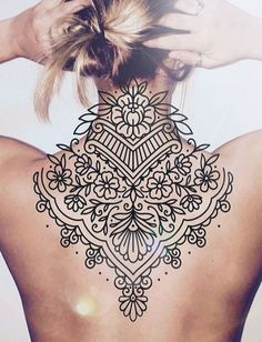 Discover recipes, home ideas, style inspiration and other ideas to try. Tattoos Mandala, Boho Tattoos, Body Art Tattoos, Sleeve Tattoos, Geometric Mandala Tattoo, Henna Tattoos, Backpiece Tattoo, Nape Tattoo, Back Tattoo Women