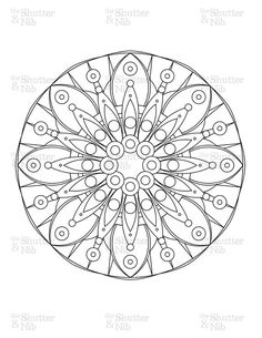 Printable Mandala Image Download - Coloring Book Page - Digital Scrapbook Clipart - Graphic Line Art