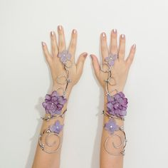 Silver and lavender fairy arm cuffs by Frecklesfairychest on Etsy