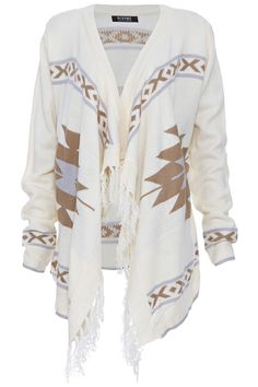 ROMWE | ROMWE Geometric Pattern Tasseled Apricot Cardigan, The Latest Street Fashion