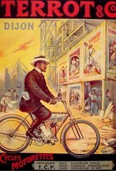 Vintage French poster. Bicycle with motor.
