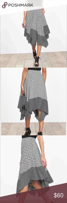 Banana Republic Petite Asymmetrical Skirt sz 2 NWT Banana Republic Printed Handkerchief Circle Skirt Size 2 Petite. Brand New with Tags never worn. Realized that I didn't really like the length so thought maybe someone else could get some use out of this. Great fashion piece otherwise! Banana Republic Skirts Asymmetrical