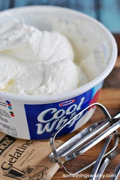 Best Homemade Whipped Cream - Something Swanky Finally found recipe to make a whipped cream to replace cool whip in all those recipes! Yeah, no more chemicals =) Homemade Cool Whip Just Desserts, Delicious Desserts, Dessert Recipes, Healthy Desserts, Cat Recipes, Cooking Recipes, Cooking Hacks, Homemade Cool Whip, Desert Recipes