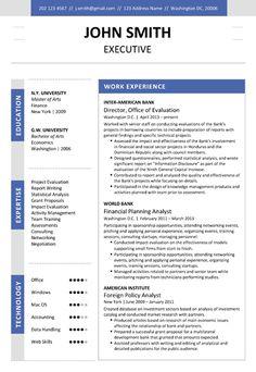 Find the Dark Blue Executive Resume Template on http://www.cvfolio.com