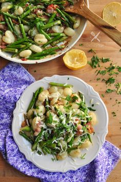 gnocchi with asparagus and bacon #onedishmeal