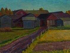 Veikko Vionoja: Pihapiiri, 1995, öljy, 56x74 cm - Hagelstam K134