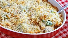 Easy, creamy, cheesy chicken noodle casserole with broccoli and bacon is an easy-to-make dinner.