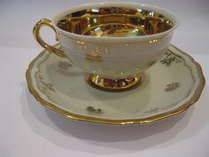 Johann Haviland - Bavaria Antique China Teacup set gold floral - gold lined cup