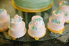 What gorgeous tiny little cakes at this Vintage Ever After Tea Party! They look delicious!! See more party ideas and share yours at CatchMyParty.com