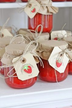 All Occasion Gift Idea | Home Made Strawberry Jam | Craft Paper or Cupcake Liner Tops, secured with twine and complimentary gift tag.