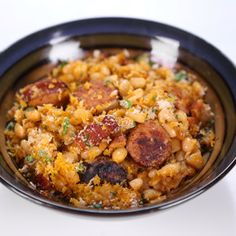 Kielbasa Beans Michael Symon - substitute some beer or whiskey for some of the stock
