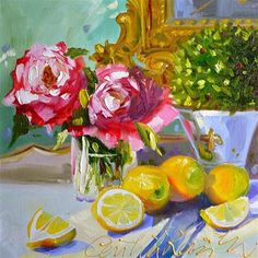 """LEMONS ON BLUE"" - Original Fine Art for Sale - © CECILIA ROSSLEE"