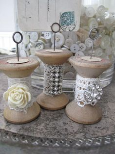 Vintage Wood Spools Note Holders with Vintage by littlethings1