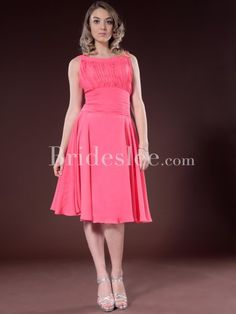 Tail Dresses Prom Wedding Whole Formal A Line Scoop Tea Length Chiffon Bridesmaid 95 91