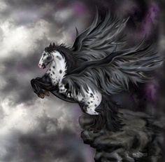 SciFi and Fantasy Art Andalusian Pegasus - Windflowa by Lisa Latasha Herron Fantasy World, Dark Fantasy, Fantasy Art, Magical Creatures, Fantasy Creatures, Pegasus, Winged Horse, Unicorn Art, Mythological Creatures